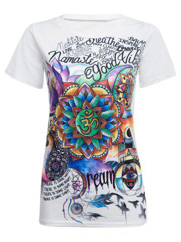 Outfits Round Collar Short Sleeve Print T-shirt