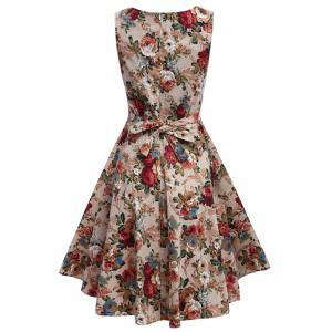 Apricot M Floral Bowtie Midi Fit And Flare Dress