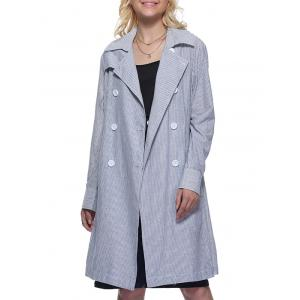 Trendy Turn Down Collar Striped Pocket Design Double-Breasted Women Long Trench Coat