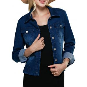 Street Style Turn Down Collar Pure Color Women Denim Coat - Deep Blue - Xl