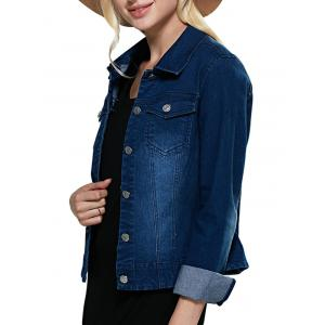 Street Style Turn Down Collar Pure Color Women Denim Coat -
