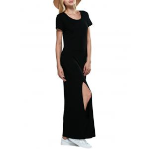 Casual Round Collar Short Sleeve Black Women Slit Dress -