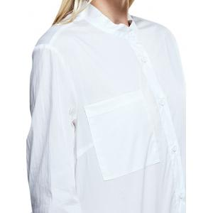 Chic Stand Collar Pocket Pure Color Women Shirt -