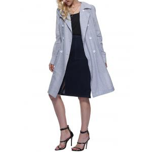 Trendy Turn Down Collar Striped Pocket Design Double-Breasted Women Long Trench Coat - ICE BLUE M