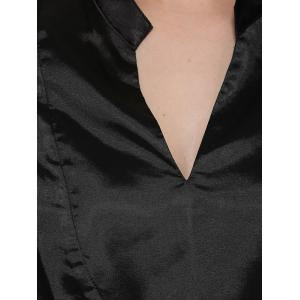 Simple Style V-Neck Long Sleeve Women Black Blouse -