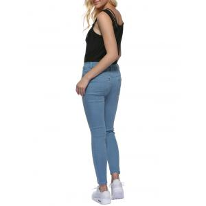 Chic Mid Waist Skinny Women Denim Pants - Bleu clair M