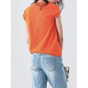 Casual Round Collar Sleeveless Letter Print Loose Women T-shirt -