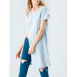 Casual Round Collar Front Slit Loose Women Long T-shirt -