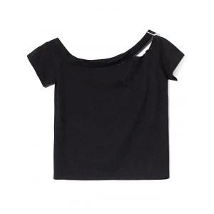 Casual Off The Shoulder Short Sleeve Hollow Out Slim Women T-shirt -