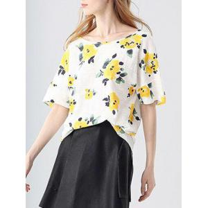 Trendy Round Collar Short Sleeve Bandage Floral Print Loose Women T-shirt -