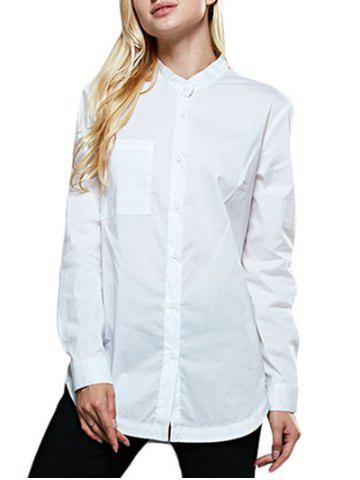 Latest Chic Stand Collar Pocket Pure Color Women Shirt WHITE M
