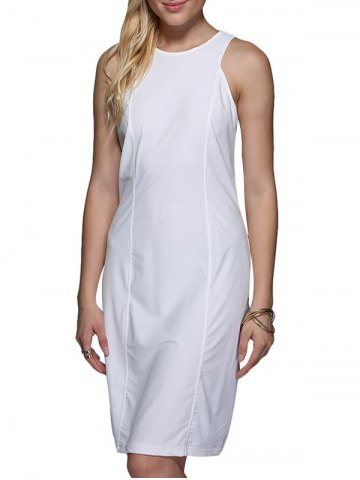 Buy Brief Round Collar Pure Color Women Sundress