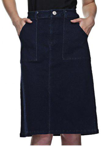 Affordable Front Slit Denim Skirt With Pockets DEEP BLUE M