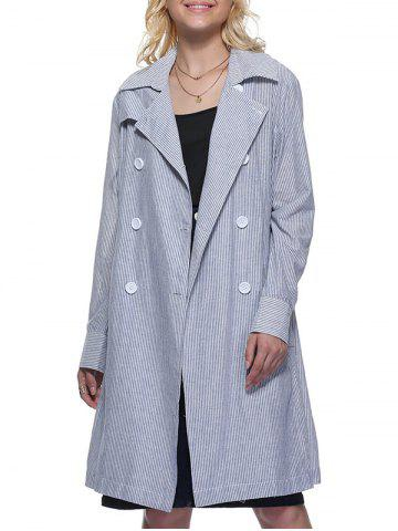 Cheap Trendy Turn Down Collar Striped Pocket Design Double-Breasted Women Long Trench Coat ICE BLUE M
