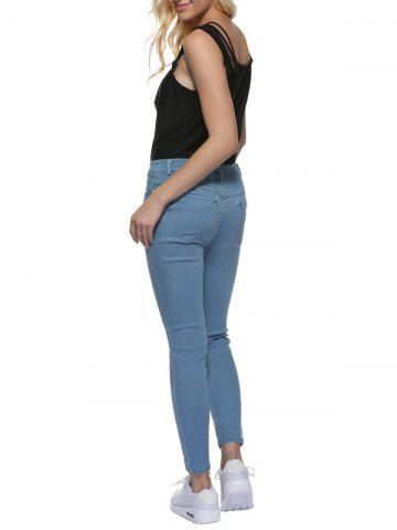 Best Mid Waisted Skinny Jeans - M LIGHT BLUE Mobile