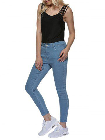 Unique Mid Waisted Skinny Jeans - M LIGHT BLUE Mobile