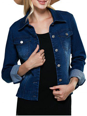 Buy Street Style Turn Down Collar Pure Color Women Denim Coat