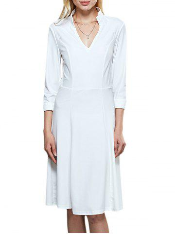 Outfits Brief Stand Collar 3/4 Sleeve Women White Dress