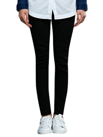 Chic Mid Waist Solid Color Skinny Women Pants - Black - 2xl