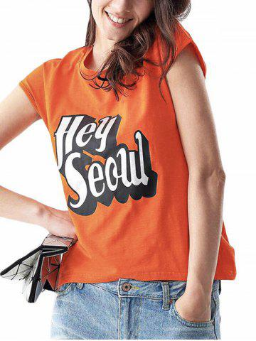 Outfits Casual Round Collar Sleeveless Letter Print Loose Women T-shirt