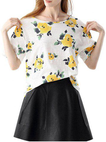 Shop Trendy Round Collar Short Sleeve Bandage Floral Print Loose Women T-shirt