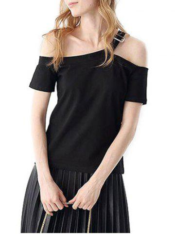 Sale Casual Off The Shoulder Short Sleeve Hollow Out Slim Women T-shirt
