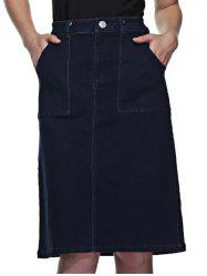 Front Slit Denim Skirt With Pockets - DEEP BLUE L