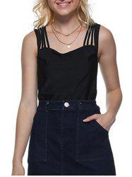 Sexy Square Neck Solid Color Cut Out Women Tank Top -
