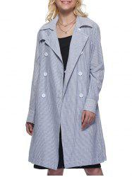 Trendy Turn Down Collar Striped Pocket Design Double-Breasted Women Trench Coat