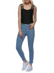 Mid Waisted Skinny Jeans - LIGHT BLUE