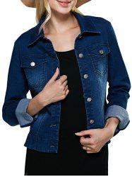 Street Style Turn Down Collar Pure Color Women Denim Coat - DEEP BLUE