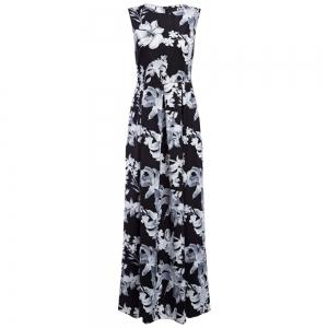 Old Classical Round Collar Floral Sash Waist Women A-Line Dress -