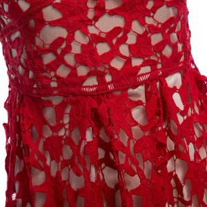 Spaghetti Strap Lace Top Prom Dress - RED XL