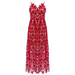 Spaghetti Strap Lace Top Prom Dress - RED
