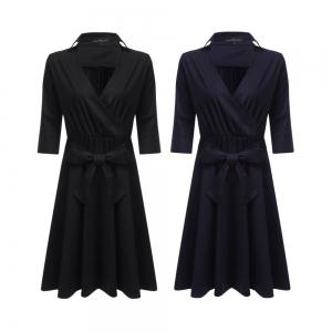 Chic Plunging Neck Sash Waist Bowknot Women A-Line Dress -