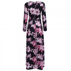 Old Classical Round Collar Sash Waist A-line Women Floral Dress -