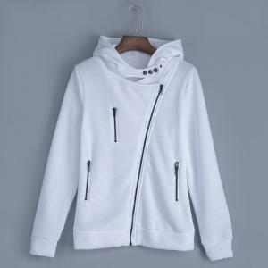 Casual Turn-down Collar Zipper Button Design Women Hoodie - White - M