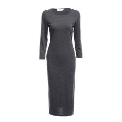 Brief Round Collar Solid Color Bodycon Women Midi Dress