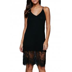 Sexy Spaghetti Strap Lace Spliced Solid Color Women Dress