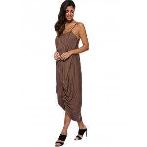 Spaghetti Strap Draped Midi Casual Dress -