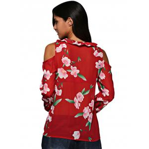 Old Classical V-Neck Flare Sleeve Flounced Floral Cut Out Women Chiffon Blouse -