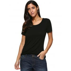 Sexy Round Collar Back Hollow Out Pure Color Women T-Shirt - BLACK M