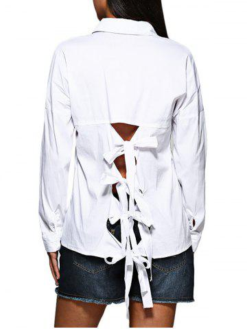 Buy Brief Turn Down Collar Pure Color Hollow Out Criss-cross Women Shirt WHITE M