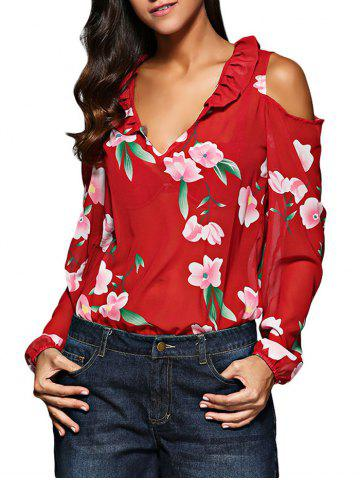 Old Classical V-Neck Flare Sleeve Flounced Floral Cut Out Women Chiffon Blouse - RED M