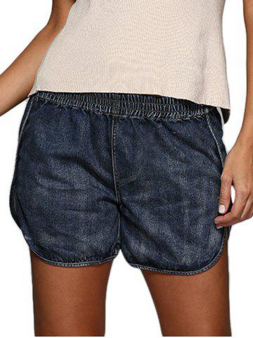 Hot Street Style Elastic Waist Pure Color Denim Dolphin Shorts DEEP BLUE L