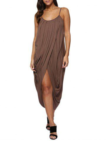 Chic Spaghetti Strap Draped Midi Casual Dress