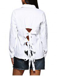 Brief Turn Down Collar Pure Color Hollow Out Criss-cross Women Shirt -