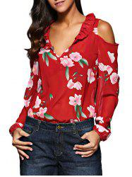 Old Classical V-Neck Flare Sleeve Flounced Floral Cut Out Women Chiffon Blouse - RED XL