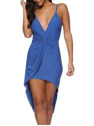 Sexy Spaghetti Strap Pure Color Asymmetrical Women Dress -