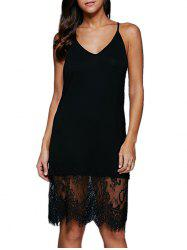 Sexy Spaghetti Strap Lace Spliced Solid Color Women Dress - BLACK